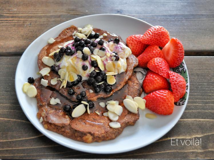 Paleo pancakes, eggs, bananas, easy recipe, two ingredients, pancakes, banana pancakes, chocolate pancakes, montreal blogger, montrealer