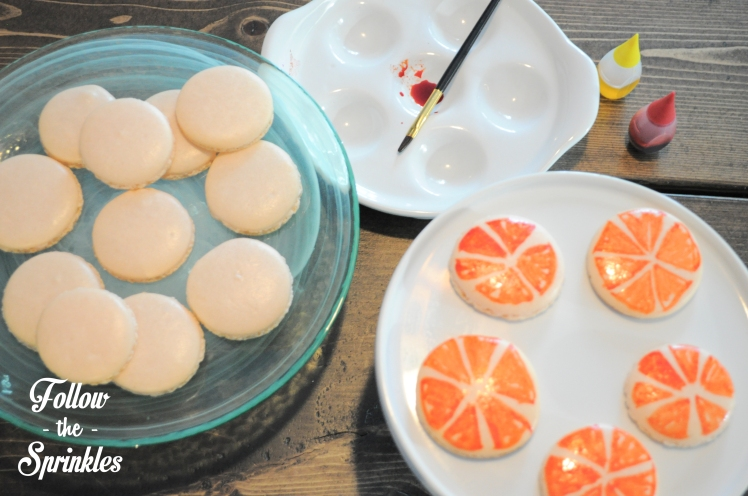 follow the sprinkles, montrealer, montreal blogger, macarons, grapefruits, how to make macarons, how to paint macarons